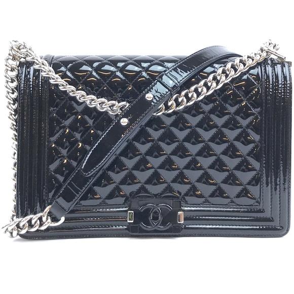 CHANEL Handbags - Classic Flap Boy Black Patent Cross Body Bag